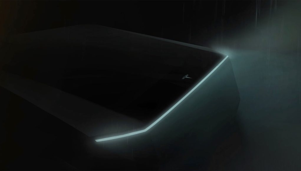 tesla electric pickup truck teaser