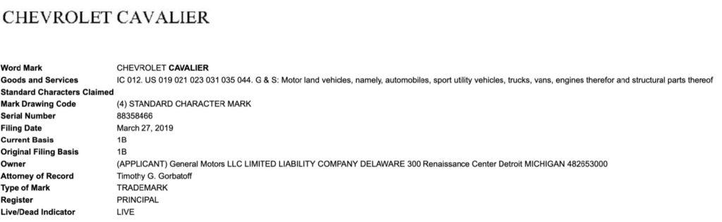 Chevrolet Cavalier trademark