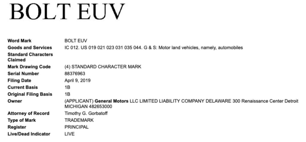 chevy bolt euv trademark