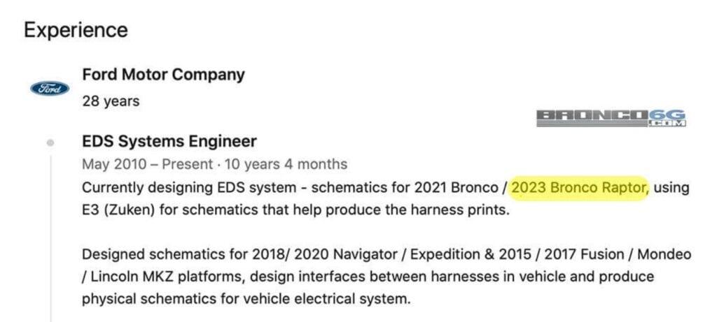 2023 Ford Bronco Raptor LinkedIn