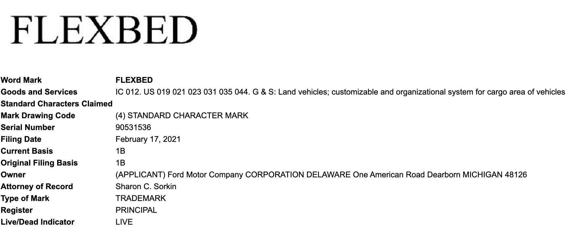 Ford Flexbed Trademark