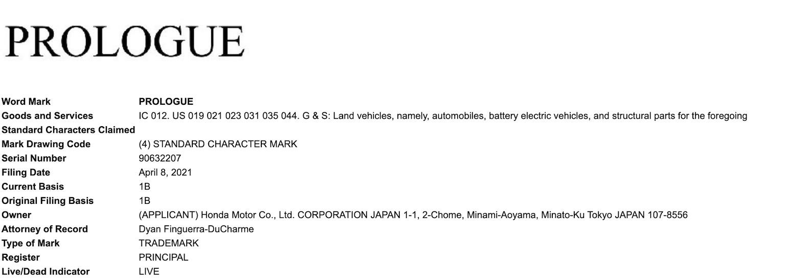 Honda Prologue Trademark